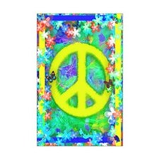 RETRO Peace Poster gold Framed Panel Print
