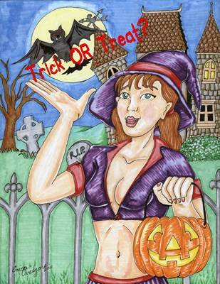 sexy witch in front of Haunted house with text saying Trick or Treat