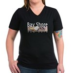 Bay Shore Women's V-Neck Dark T-Shirt