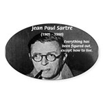 Existentialist Jean-Paul Sartre Oval Sticker