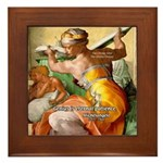Words on Genius Michelangelo Framed Tile
