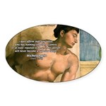 Michelangelo Nude Painting Oval Sticker